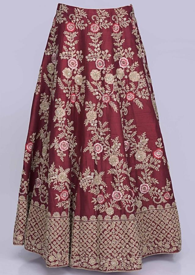 Jam Red Lehenga Choli In Raw Silk Set With Stitched Blouse And Net Dupatta Online - Kalki Fashion