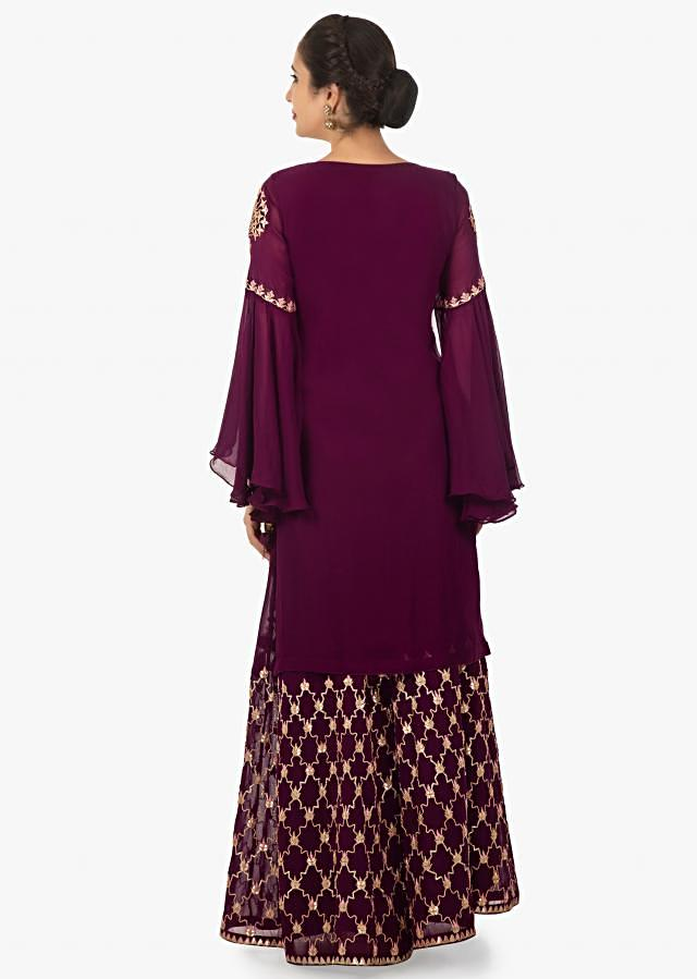 Jam violet georgette kurti and palazzo with angel sleeves  only on Kalki