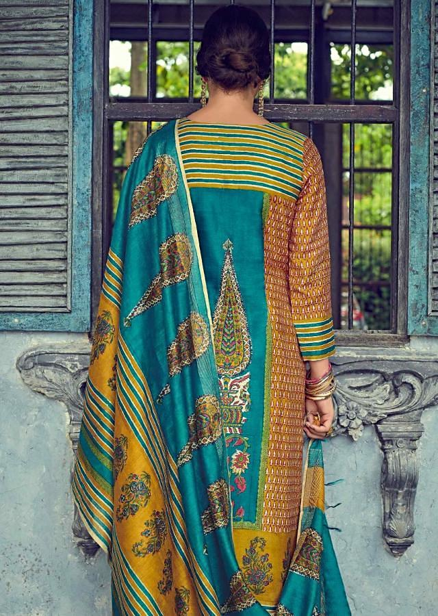 Jamaican Blue And Mustard Suit Set In Tussar Silk With Digital Print And Embroidery Online - Kalki Fashions