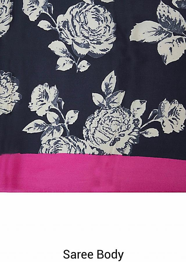 Java black saree in satin with floral print only on Kalki