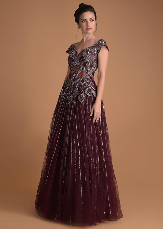 Jewel-Toned Cassis Off Shoulder Gown With Hand Embellished Geometric And Stripe Motifs  Online - Kalki Fashion