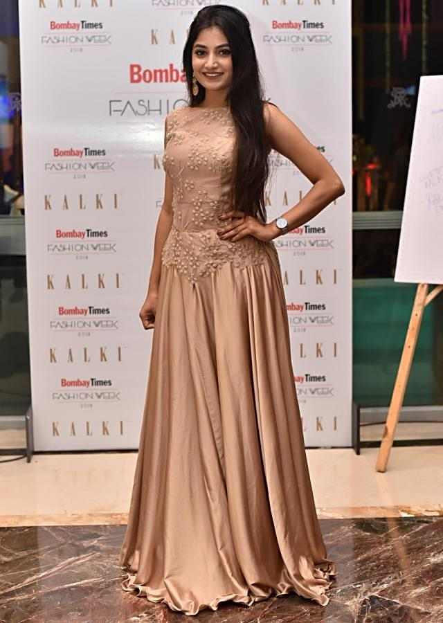 Beige satin gown with resham embriodery only on kalki