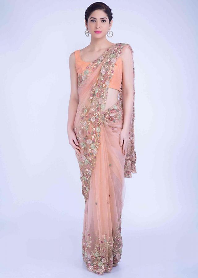 Jovial Peach Saree In Embellished Net With Matching Net Blouse Piece Online - Kalki Fashion