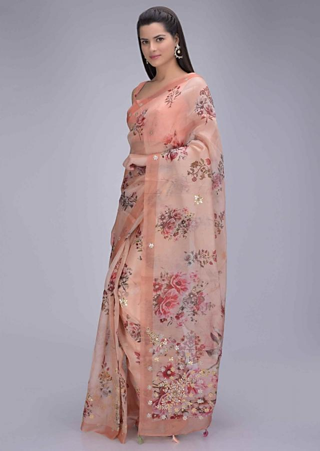 Jovial Peach Organza Saree With Floral Print And Embellished Border Online - Kalki Fashion