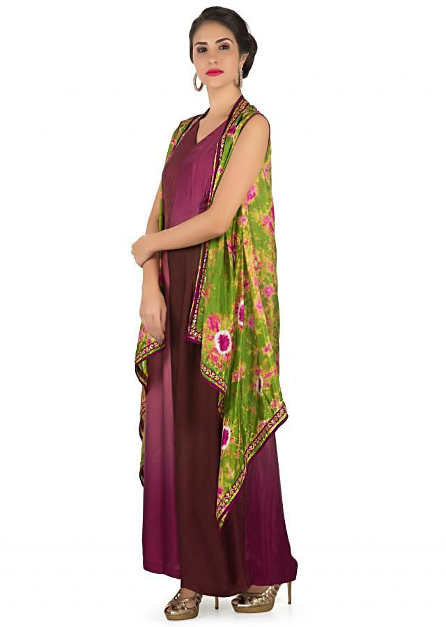 Jumpsuit in magenta and burgundy matched with printed long jacket only on Kalki