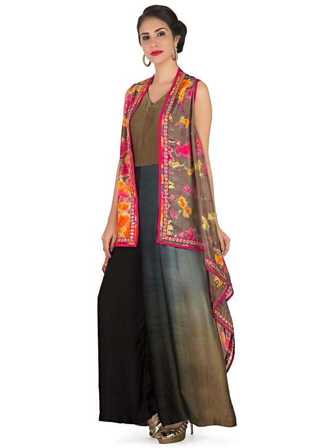 Jumpsuit in multi color matched with brown printed long jacket only on Kalki