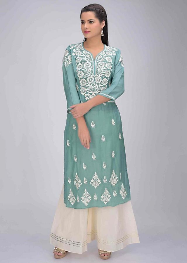 Jungle Green Kurti In Cotton With Thread Embroidery Work Online - Kalki Fashion