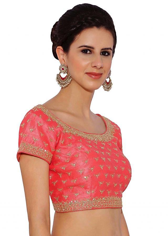 Kalki Baby Pink Raw Silk Blouse With Sequin Embroidery And Side Zip
