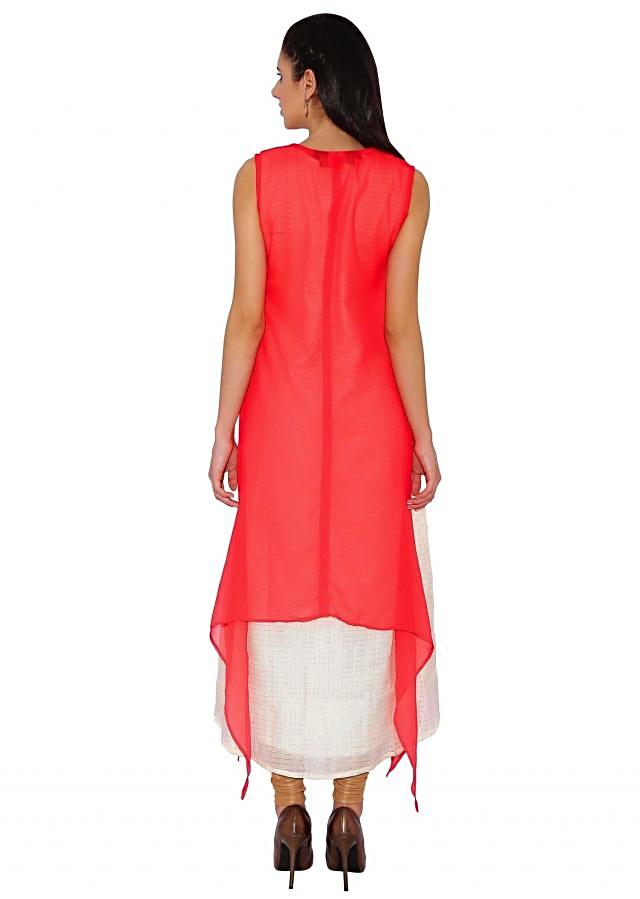Kalki Coral, Cream Layered Kurti With Front Slit And French Knot And Cut Dana Embroidery