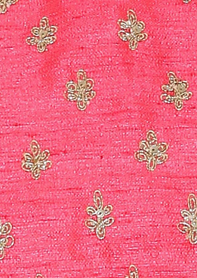 Kalki Coral Pink Raw Silk Blouse With Sequin Embroidery And Side Zip