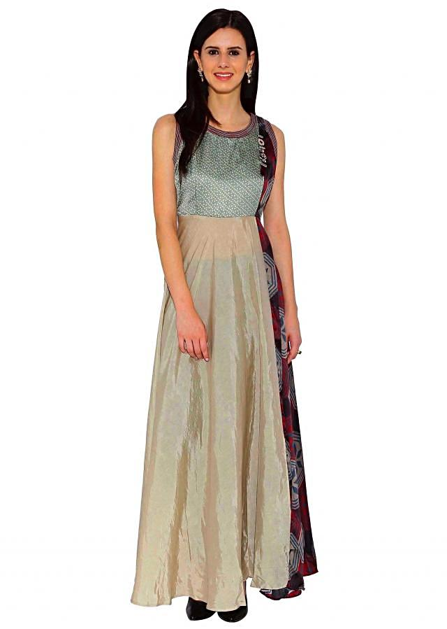 Kalki Cream, Multi Sleeveless Designer Maxi Dress Made With Cotton And Satin Fabric