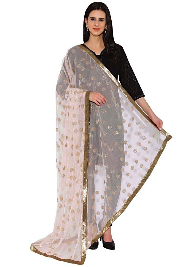 Kalki Cream Net Duppata With Sequin Work