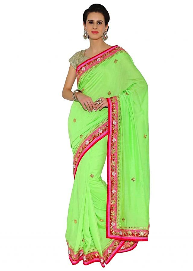 Kalki Green Georgette Saree With Gotta Patch Work, Comes With Unstitched Embroidered Blouse