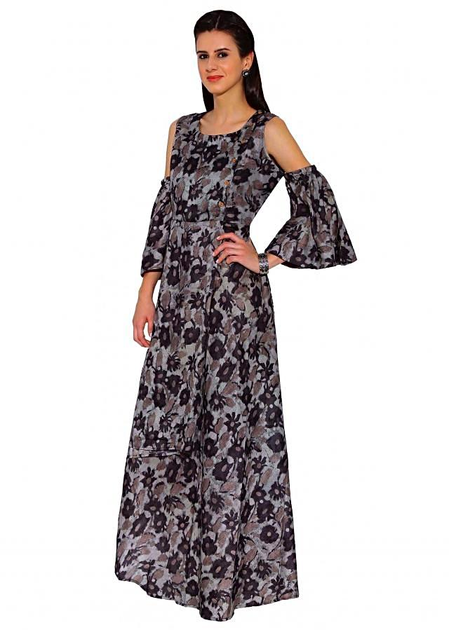 Kalki Grey, Black Floral Print Off Shoulder Cut Cotton Long Maxi Dress With Bell Sleeves