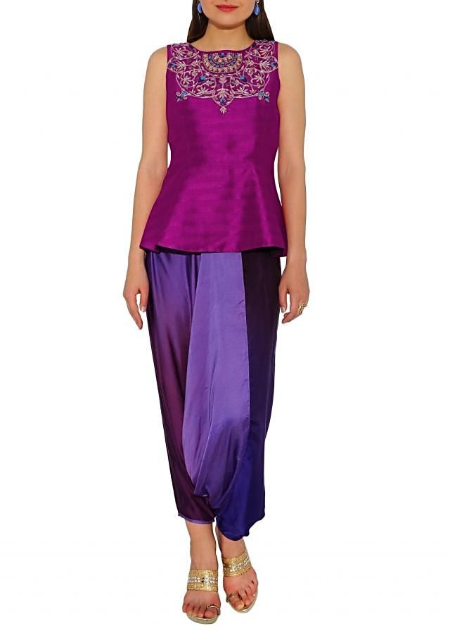 Kalki Magenta, Multi Two Tone Dhoti Salwar With Short Zardosi And French Knot Kurta