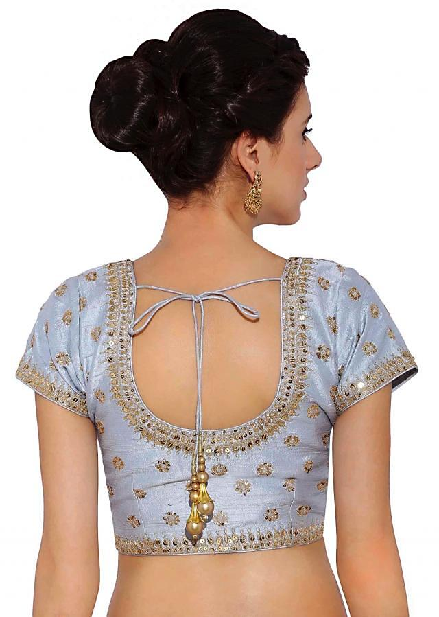 Mint Blue embroidered Blouse in raw silk  And Side Zip