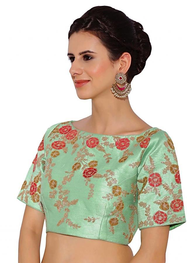 Kalki Mint Green Raw Silk Blouse With Sequin Embroidery And Side Zip