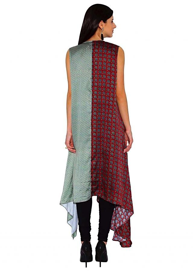 Kalki Olive Green, Maroon Satin Printed Satin Kurti With Antique Button