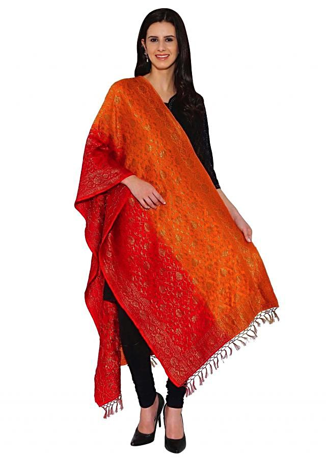 Kalki Orange, Red Two Tone Cotton Brocade Duppata With Self Design