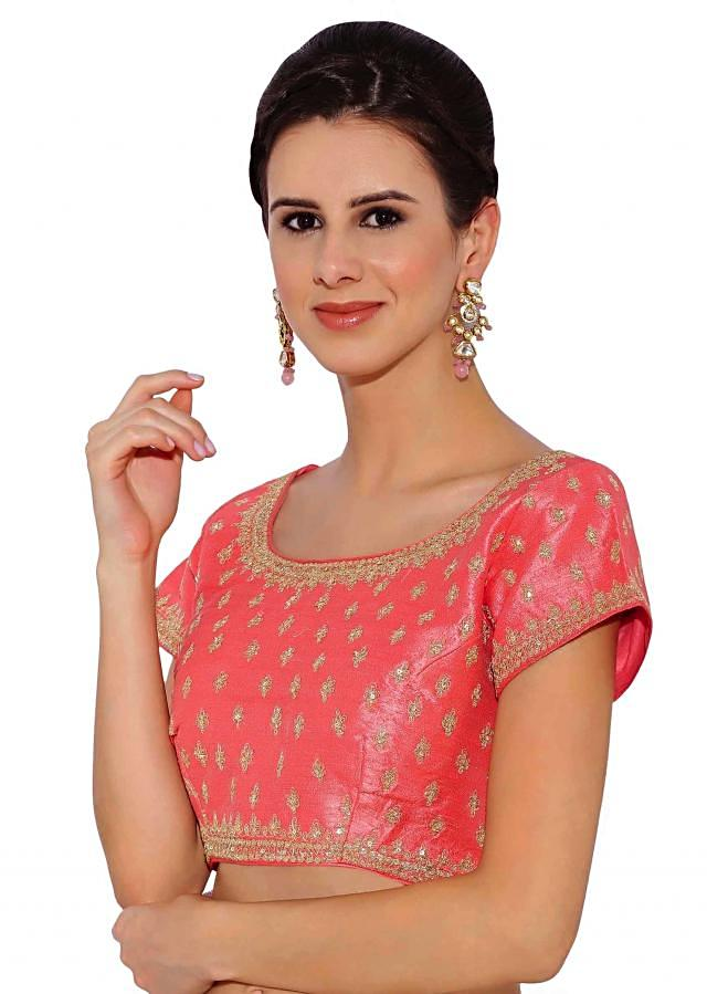 Kalki Pink Raw Silk Blouse With Sequin Embroidery And Side Zip