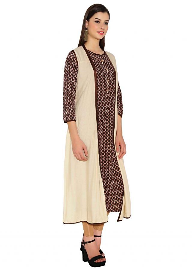 Kalki Printed Cream & Brown Kurti