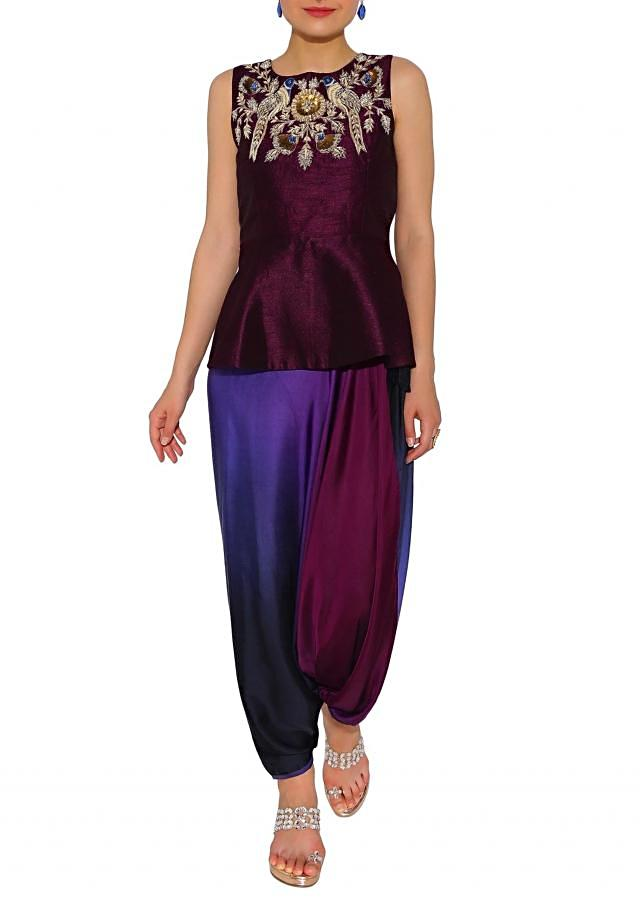 Kalki Purple, Black Two Tone Dhoti Salwar With Short Zardosi And Sequin Motif Kurta
