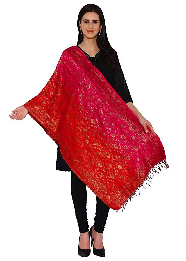 Kalki Rani Pink, Red Two Tone Cotton Brocade Duppata With Self Design With Tassel