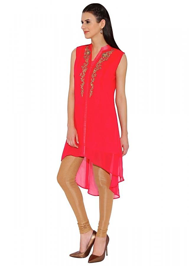 Kalki Rani Red Georgette Kurti With Resham And Cut Dana Embroidery