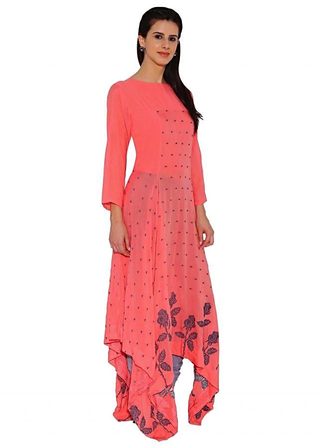 Kalki Red Designer Printed Kurti With Asymmetric Hemline And Piping Details