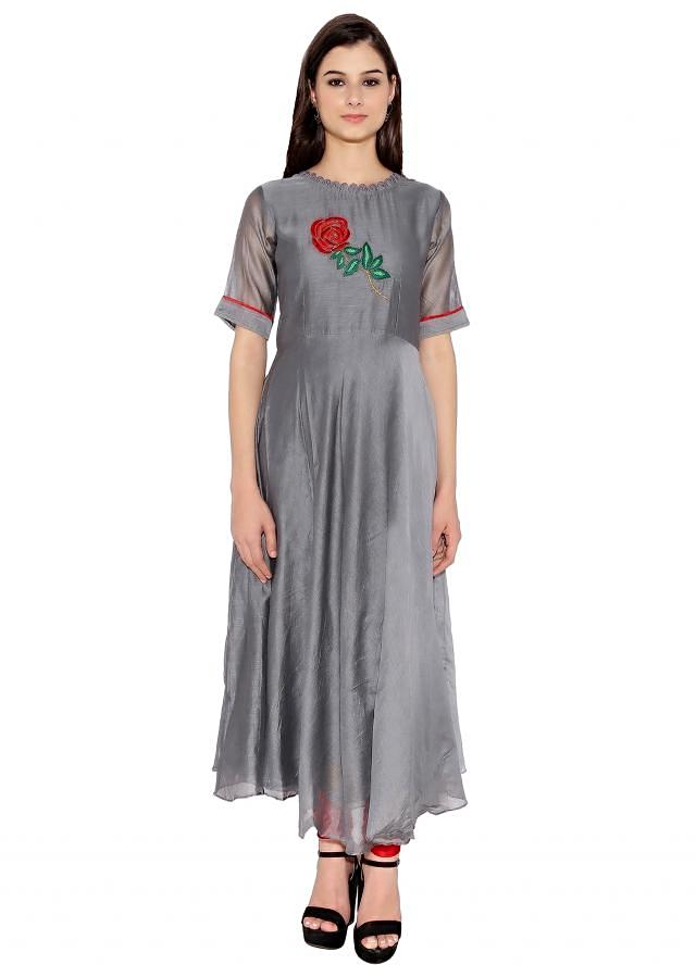Kalki Resham In Rose Motif Grey Kurti
