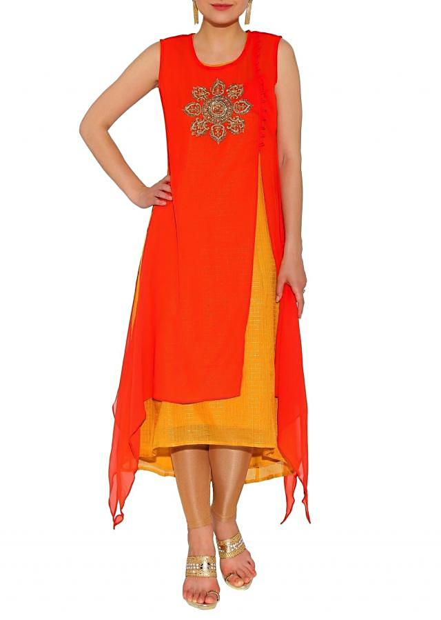 Kalki Rust, Mustard Layered Kurti With Front Slit And French Knot And Cut Dana Embroidery