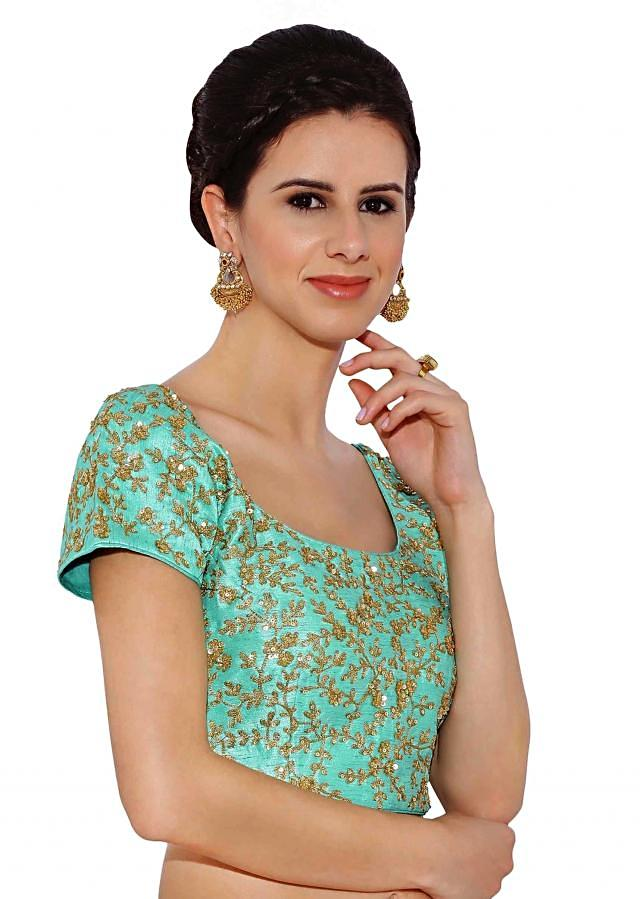 Kalki Sea Blue Raw Silk Blouse With Sequin Embroidery And Side Zip