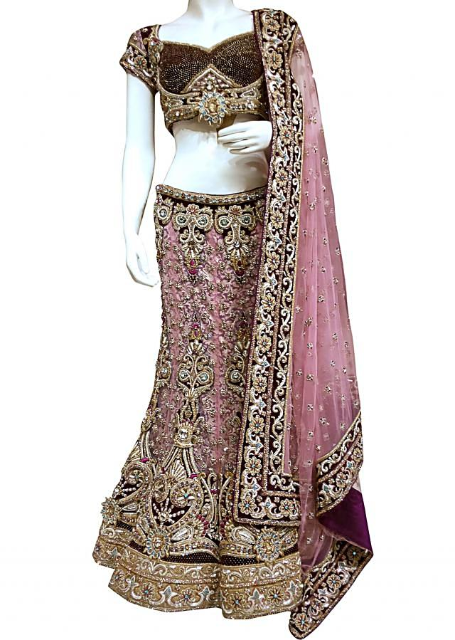 Light pink and lavender colored lehenga by Kalki