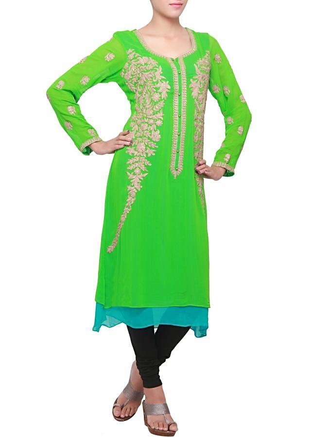 Kelly green kurti with embossed zari embroidery only on kalki