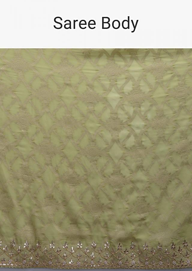 Key Lime Green Saree In Chiffon With Weaved Pattern And Gotta Work Online - Kalki Fashion