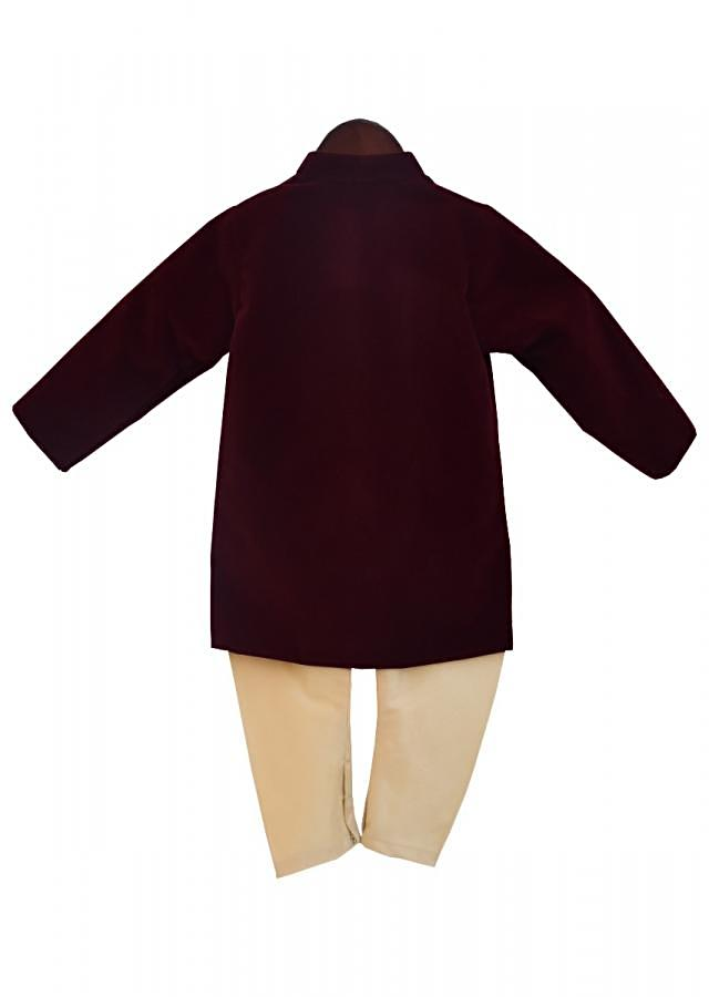 Maroon Velvet Ajkan with churidar by Fayon Kids
