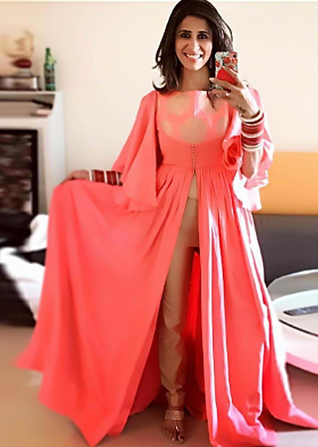 Kishwer Merchant in Kalki Peach suit with bell sleeve