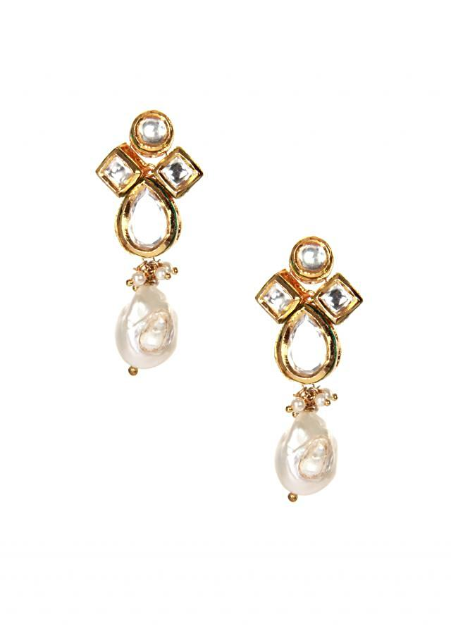 Kundan earring with pearl drop only on kalki
