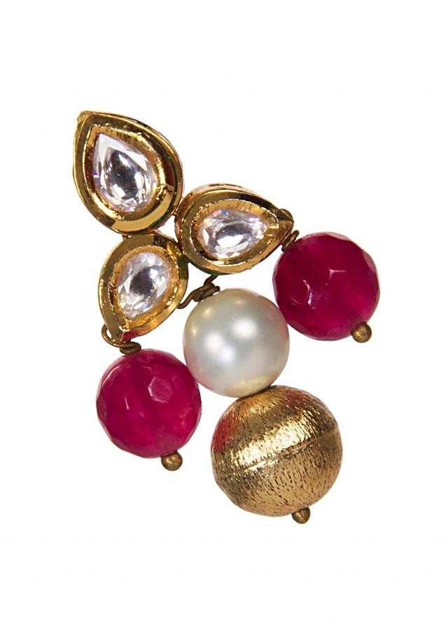 Kundan Earrings Embellished With Pink and White Gemstones only on Kalki