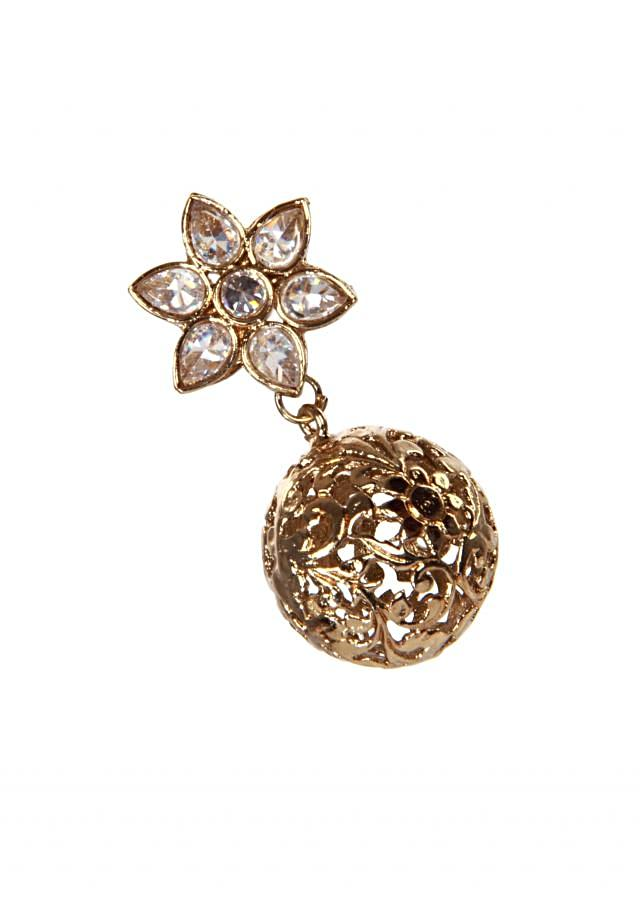 Kundan floral earring with cut out gold dangler only on Kalki