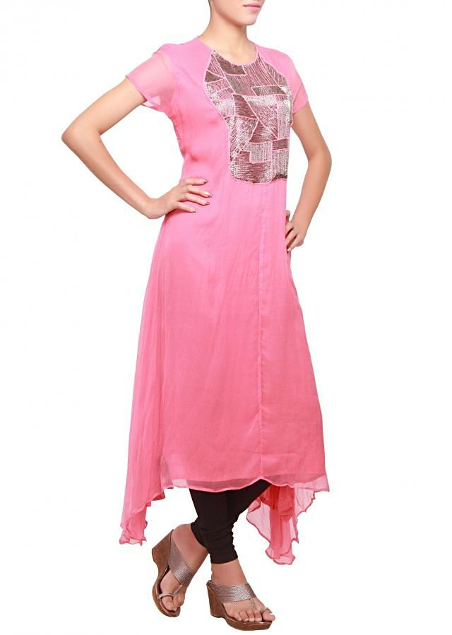 Kurti featuring in carnation pink embellished in kardana emboridery only on kalki