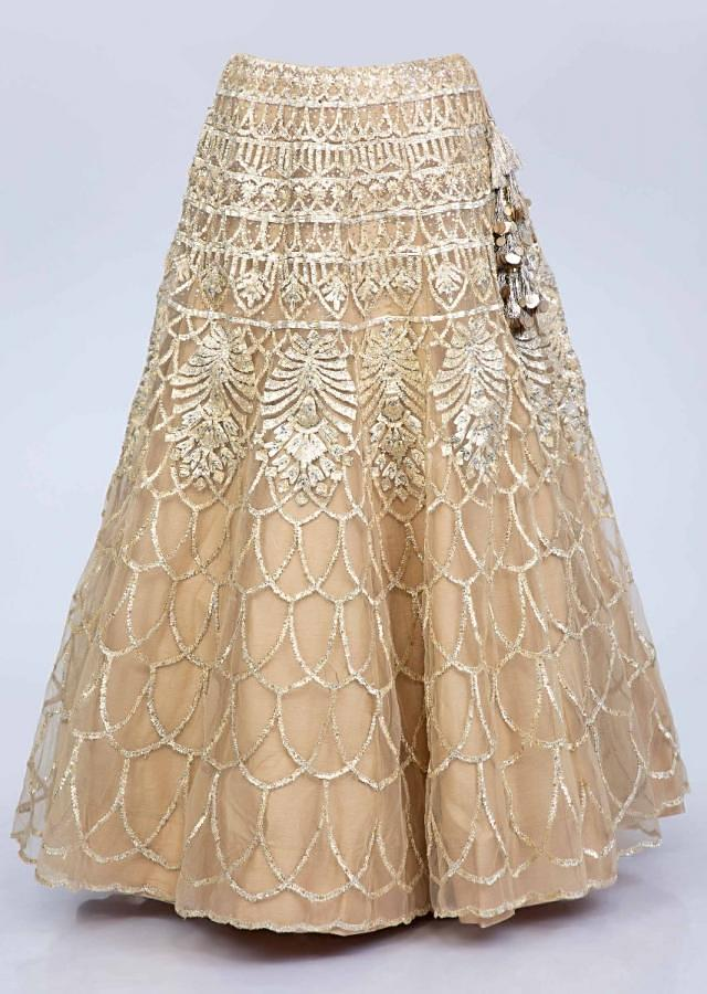Beige Lehenga And Blouse In Lace Jaal Embroidered Net With Matching Net Dupatta Online - Kalki Fashion