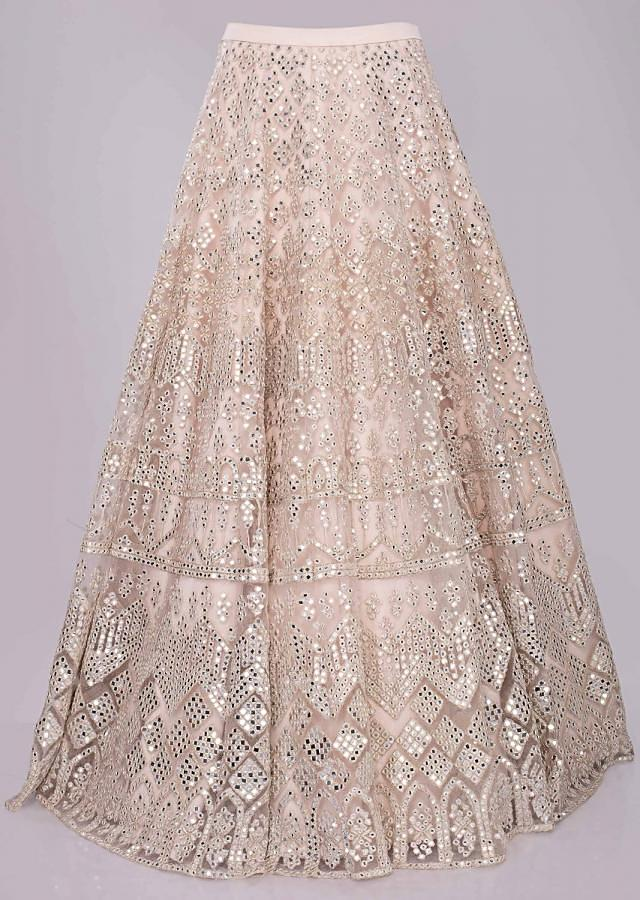 Lace Pink Net Lehenga With Bustier And Peplum Jacket In Abla Work Online - Kalki Fashion