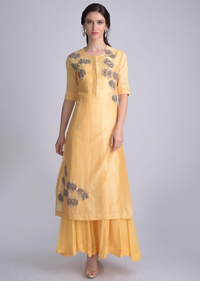Laguna Yellow Suit In Silk With Floral Embroidery Online - Kalki Fashion