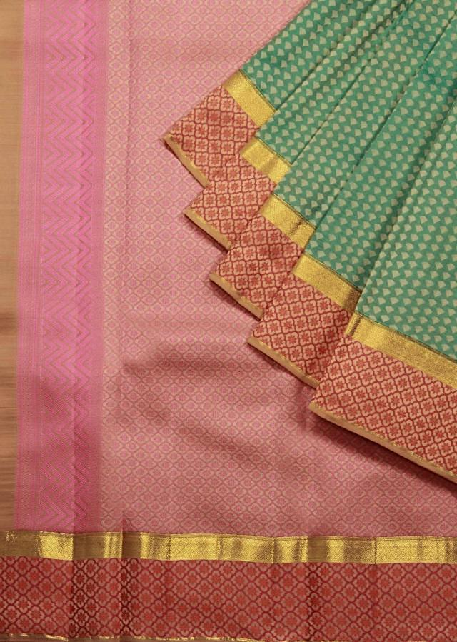 Lake blue saree in chanderi silk with pink pallav only on Kalki