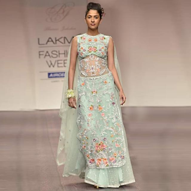 Model walks the ramp in straight fit palazzo pant outfit for Bhairavi Jaikishan at Lakme Fashion Week 2013