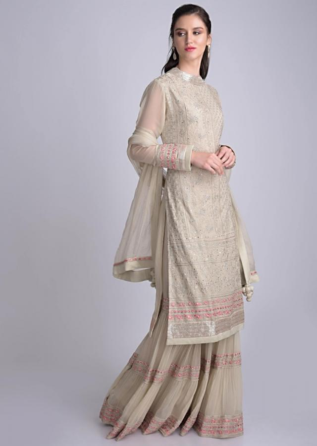 Laurel Green Chiffon Sharara Suit With Floral Embroidery Work Online - Kalki Fashion