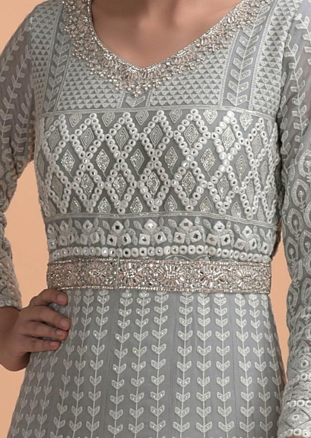 Lava Grey Anarkali Suit With Lucknowi And Abla Work In Geometric And Floral Pattern Online - Kalki Fashion