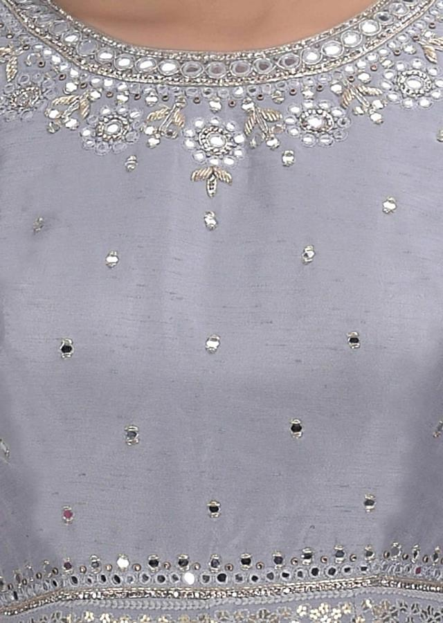 Lava Grey Suit In Chiffon And Raw Silk With Floral Embroidery Online - Kalki Fashion