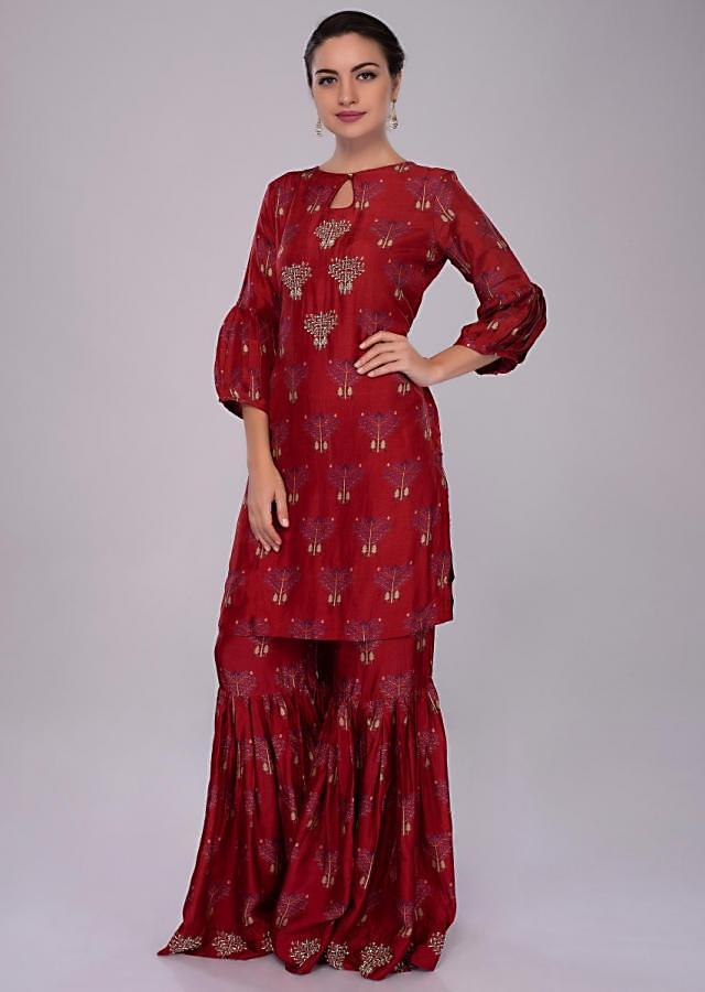 Lava Red cotton silk sharara suit in print and embroidered butti only on Kalki